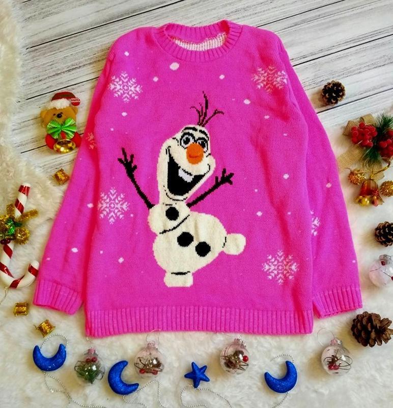 Новогодний рождественский свитер олаф и снежинки размер 8-12(s-l)