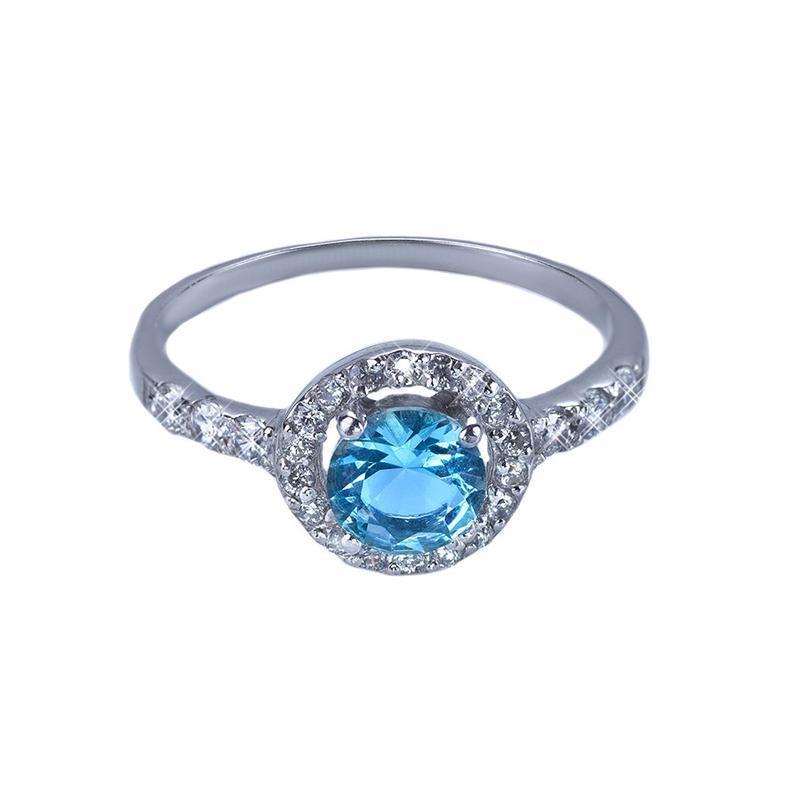 "Серебряное кольцо ""бриллиант"" с топазом"
