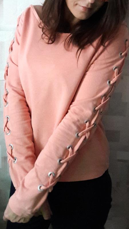 Стильный персиковый оверсайз  свитшот джемпер худи со шнуровко... - Фото 2