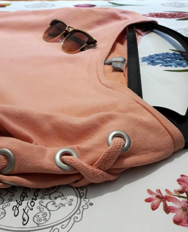 Стильный персиковый оверсайз  свитшот джемпер худи со шнуровко... - Фото 4