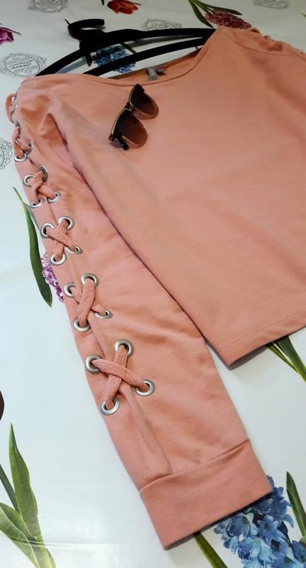 Стильный персиковый оверсайз  свитшот джемпер худи со шнуровко... - Фото 6