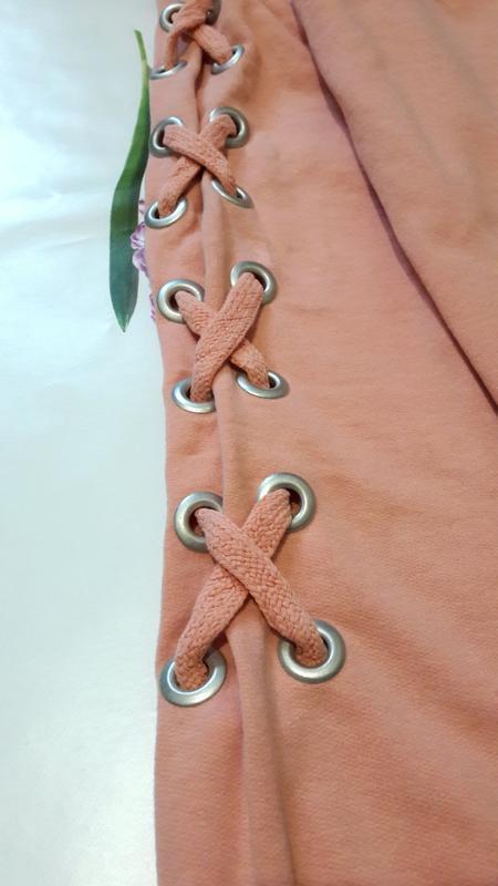 Стильный персиковый оверсайз  свитшот джемпер худи со шнуровко... - Фото 8