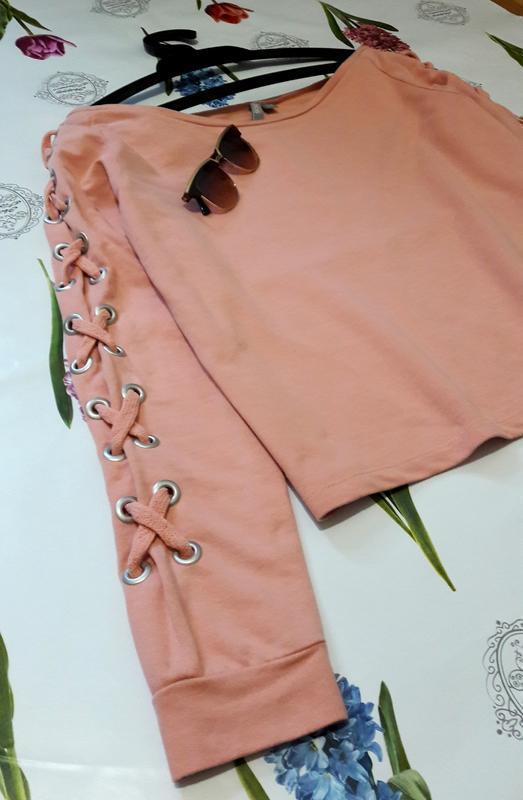 Стильный персиковый оверсайз  свитшот джемпер худи со шнуровко... - Фото 10