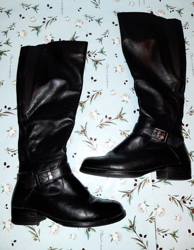 🌺 крутые высокие черные зимние сапоги из натуральной кожи, раз...