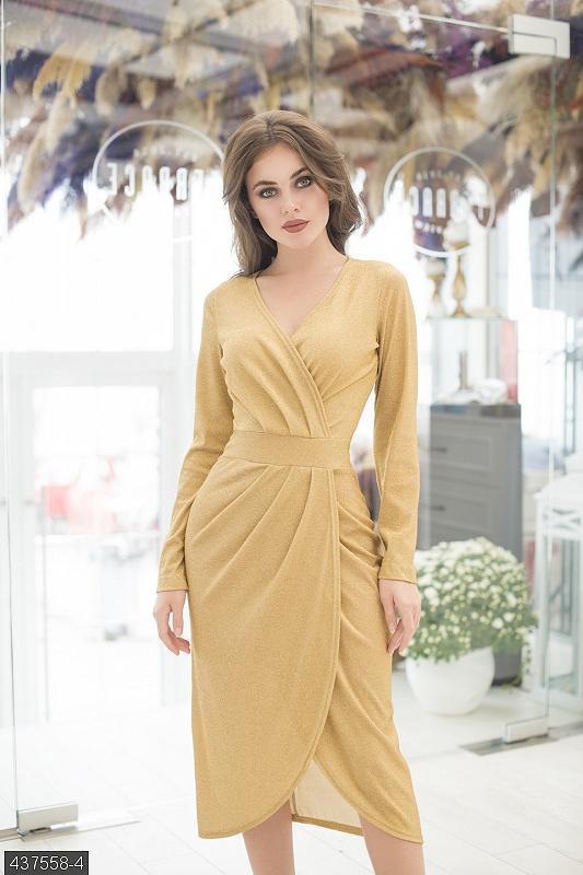 Шикарное платье миди трикотаж люрекс