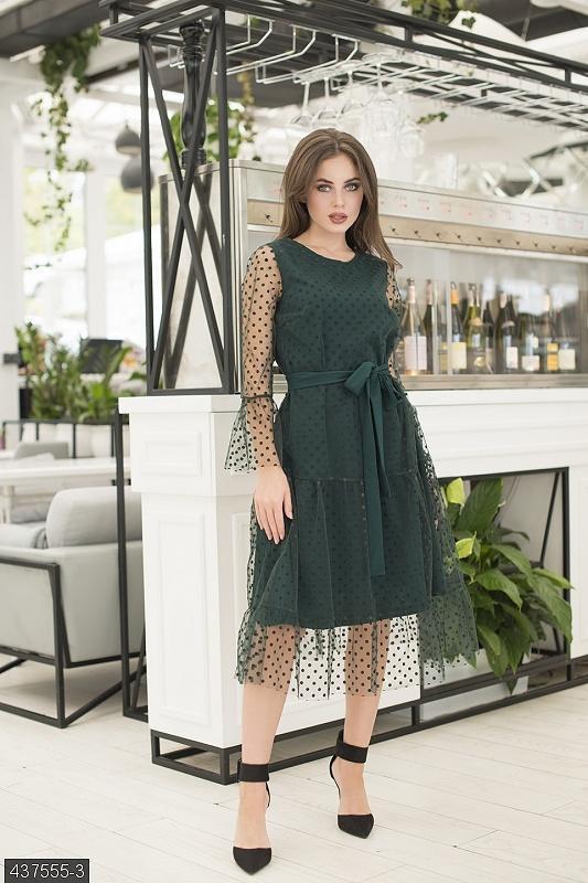 Шикарное платье сетка в горошек