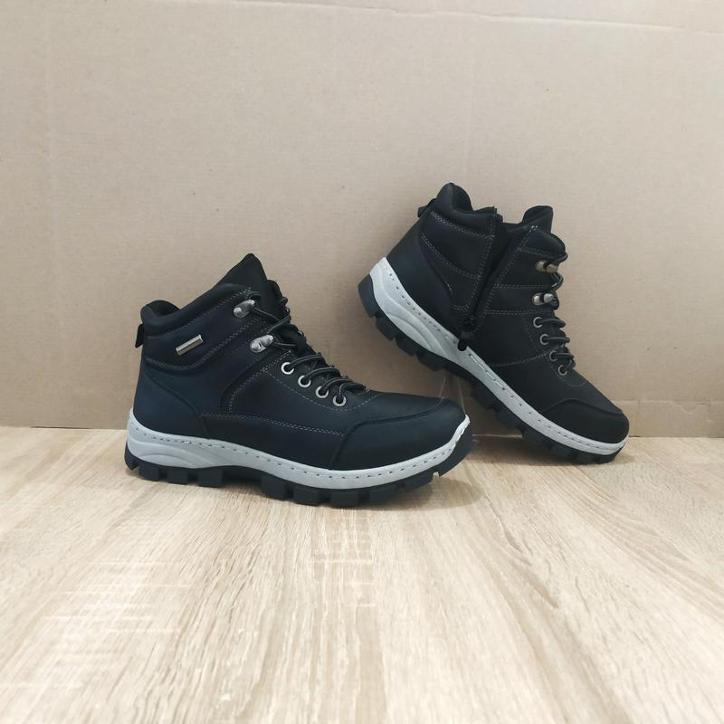 Черные мужские ботинки кожаные зимние на змейке теплые эко кож...