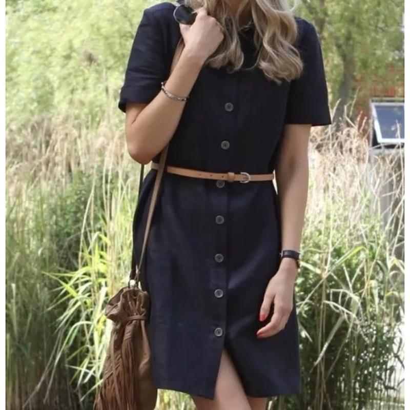 Barbour summer tartan linen belted shirt dress платье льняное ...