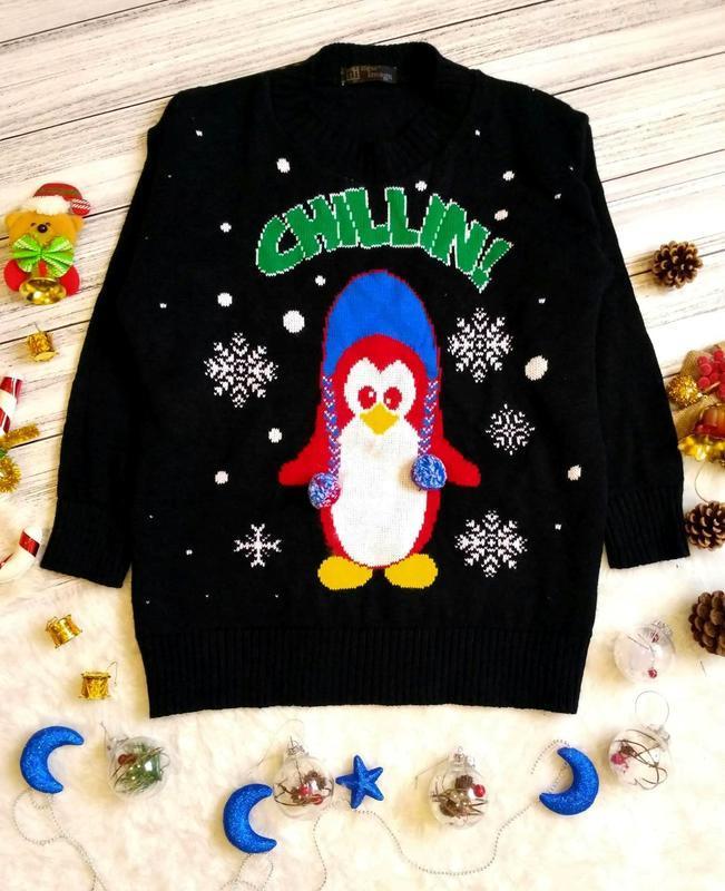 Новогодний рождественский свитер с пингвином и снежинками разм...