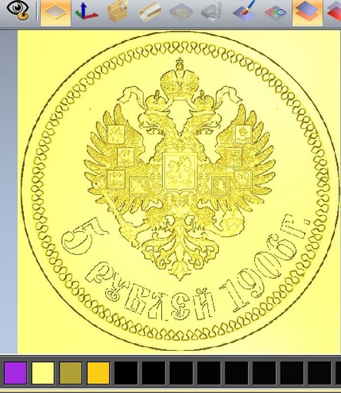 3Д модель монеты 5 рублей 1906 года