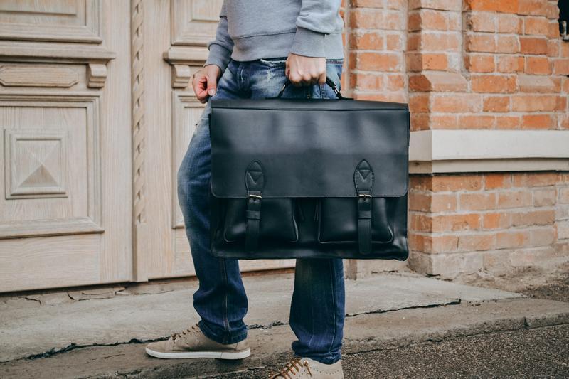 Черная кожаная сумка для ноутбука 17 дюймов, кожаный мужской п...