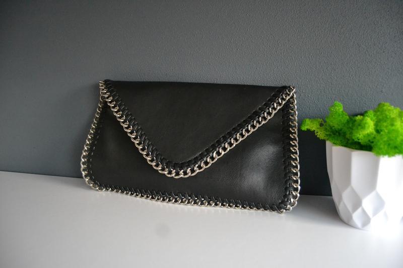 Сумка клатч чорна класична з ланцюжками