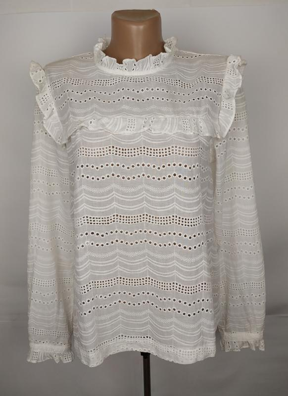 Блуза белая красивая хлопковая рюши батистовка new look uk 12/...