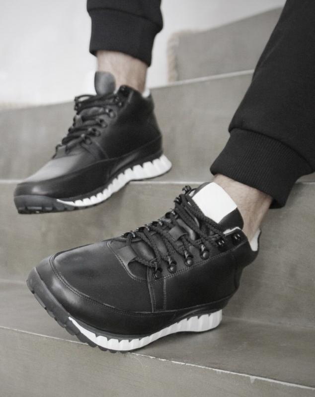 Кожаные мужские зимние черные ботинки кроссовки натуральная кожа