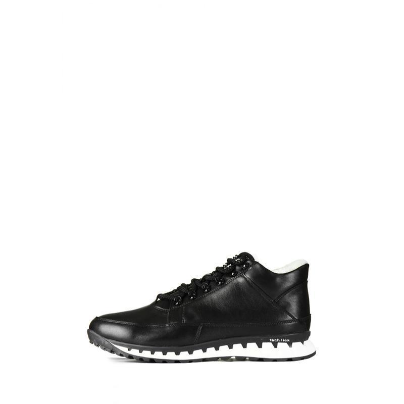Кожаные мужские зимние черные ботинки кроссовки натуральная кожа - Фото 2