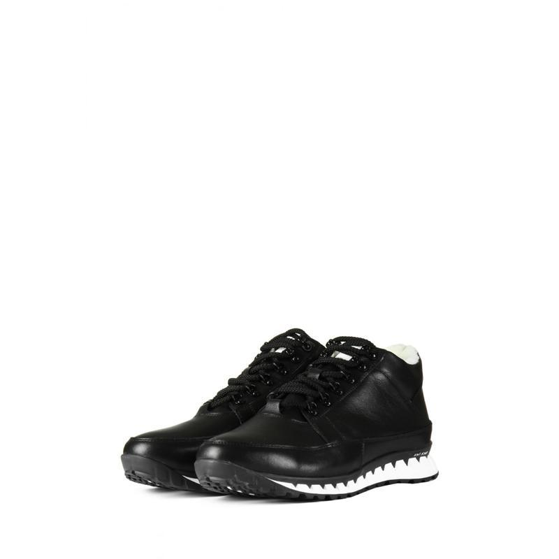 Кожаные мужские зимние черные ботинки кроссовки натуральная кожа - Фото 3