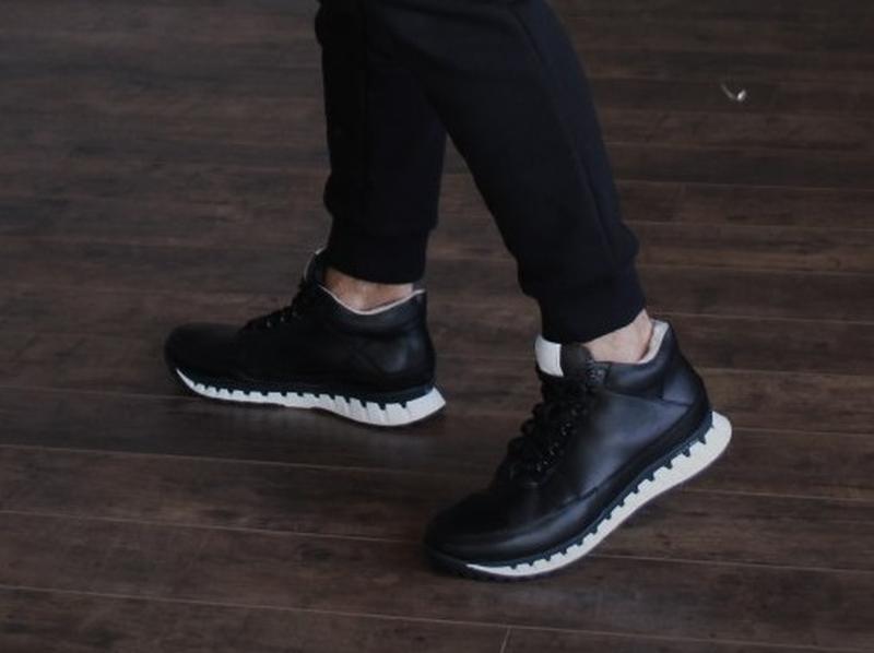 Кожаные мужские зимние черные ботинки кроссовки натуральная кожа - Фото 4