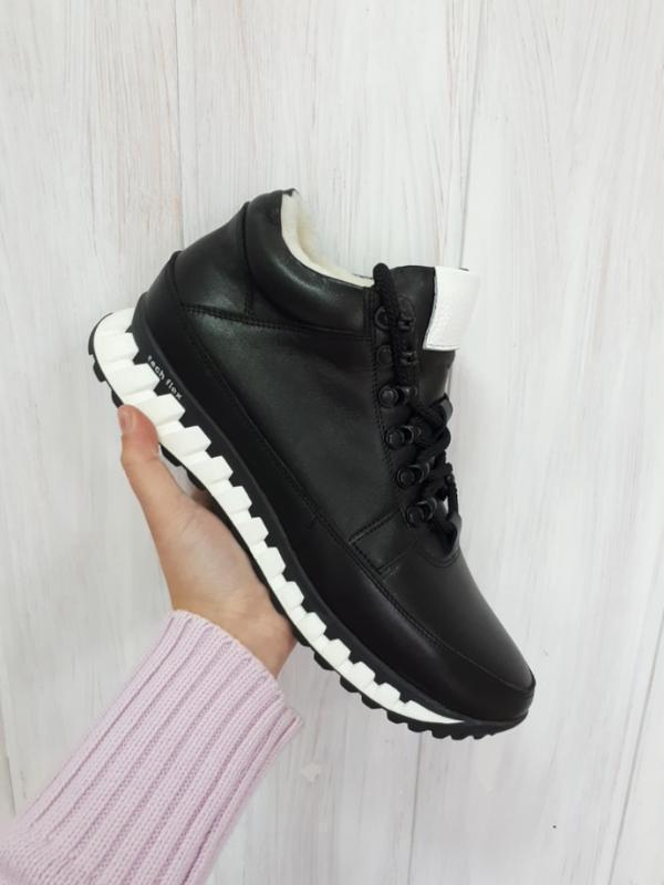 Кожаные мужские зимние черные ботинки кроссовки натуральная кожа - Фото 5
