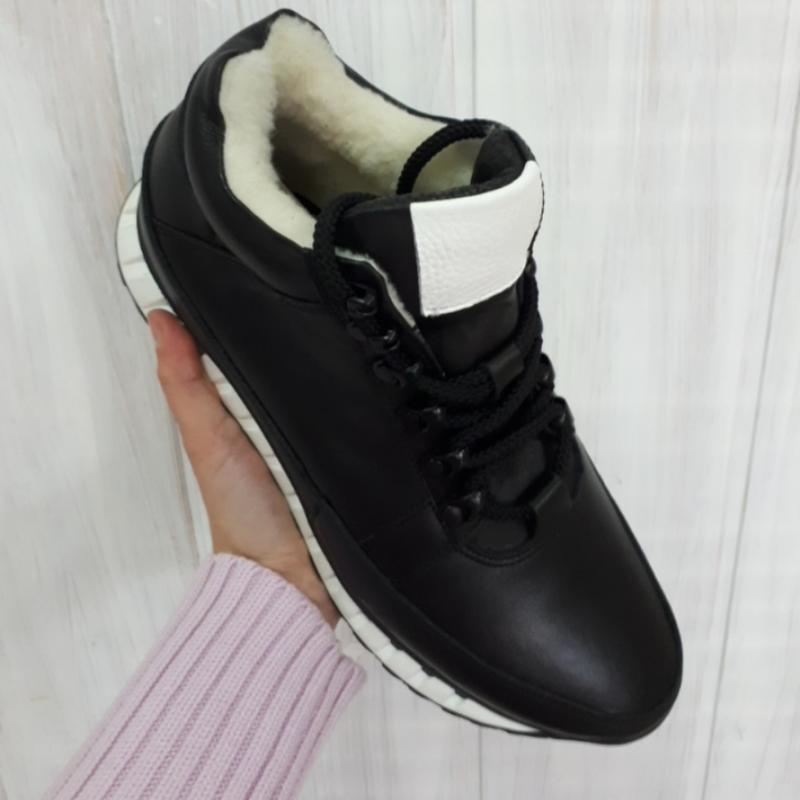 Кожаные мужские зимние черные ботинки кроссовки натуральная кожа - Фото 6