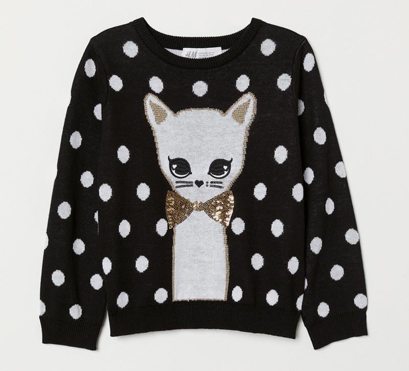 H&m свитер джемпер с котиком для девочки