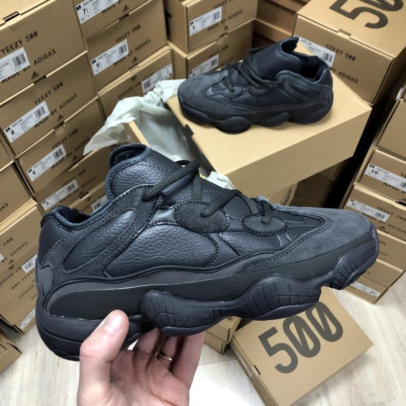 Черные зимние кроссовки с мехом унисекс adidas yeezy boost 500