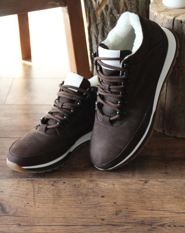 Мужские зимние кожаные коричневые короткие ботинки натуральный...