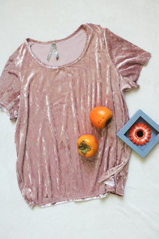 Розовая бархатная футболка, размер 4xl