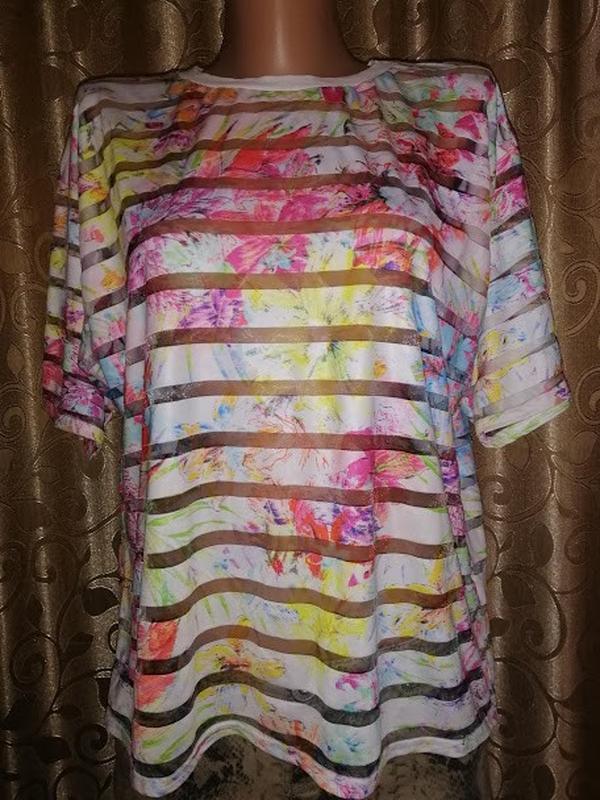 🌺🎀🌺стильная женская футболка, топ в цветочный принт, прозрачна...