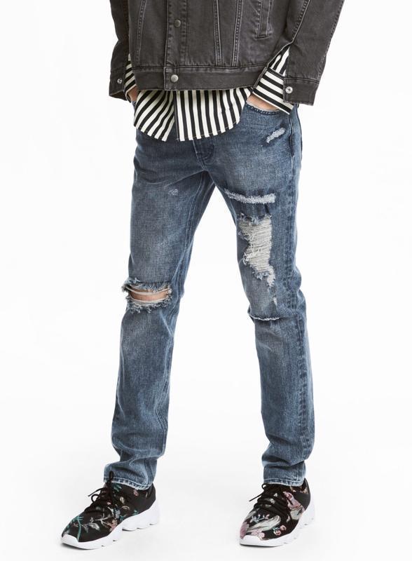 Рваные джинсы h&m premium quality 360° flex slim ! - Фото 5