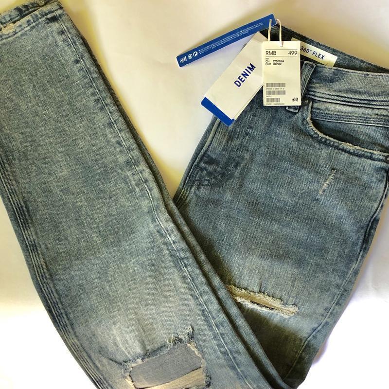 Рваные джинсы h&m premium quality 360° flex slim ! - Фото 6