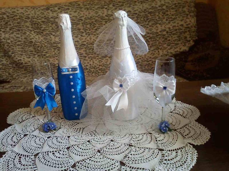 Декор бутылок и бокалов на свадьбу