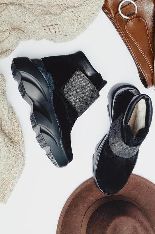 Модные женские зимние замшевые черные массивные ботинки на лип...