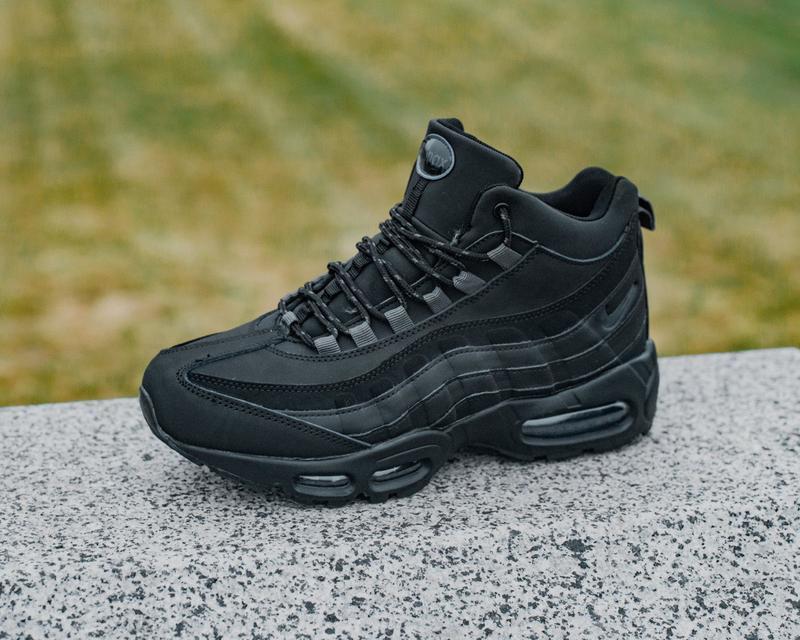 ❄️nike air max 95 sneakerboot black❄️мужские чёрные кожаные кр...