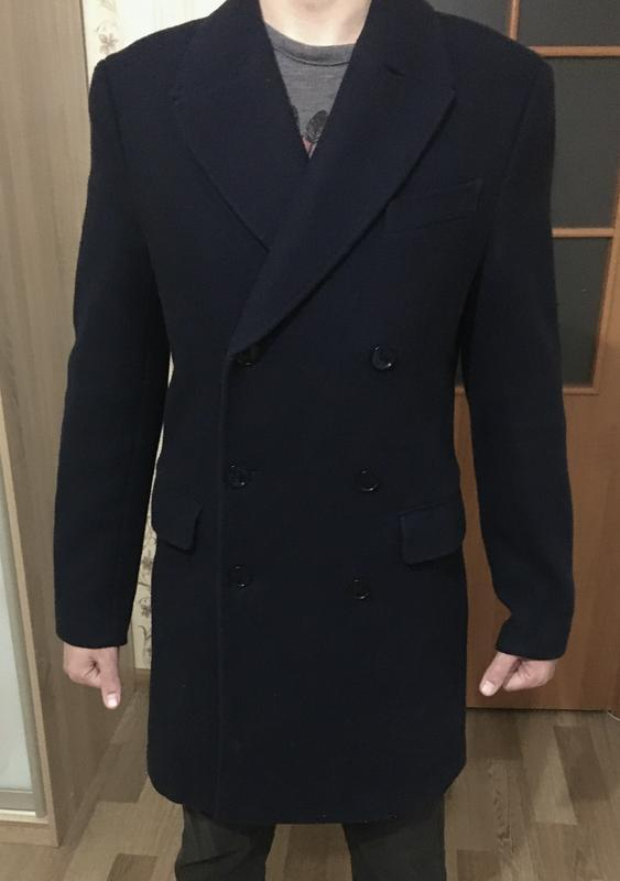 Теплое пальто классическое шерсть mango navy