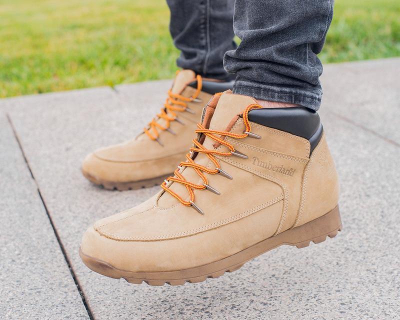 Мужские кожаные ботинки timberland, светло коричневые, осенние...