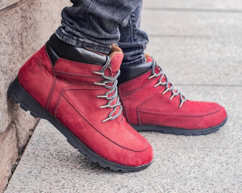 🍁кожаные ботинки timberland🍁мужские бардовые осенние/весенние/...