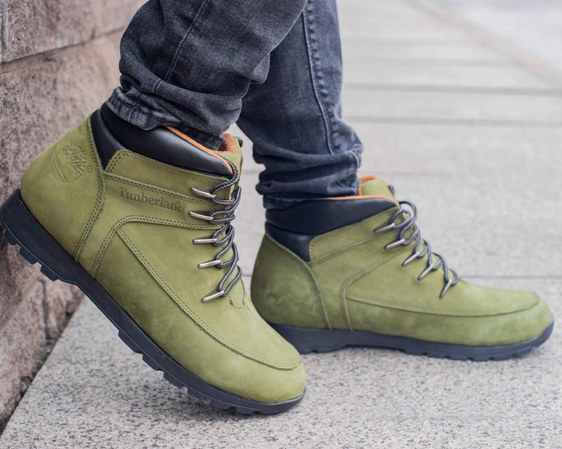 🍁timberland haki🍁мужские кожаные зелёные/хаки ботинки тимберле...