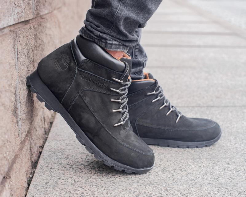 🍁timberland black🍁мужские чёрные кожаные ботинки тимберленд, о...