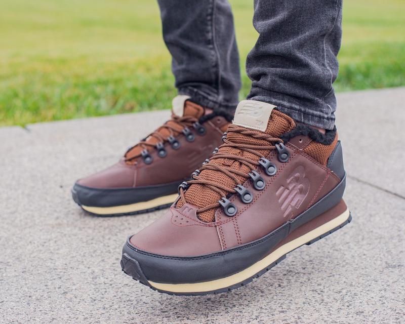✳️зимние кожаные кроссовки/ботинки new balance✳️с мехом коричн...