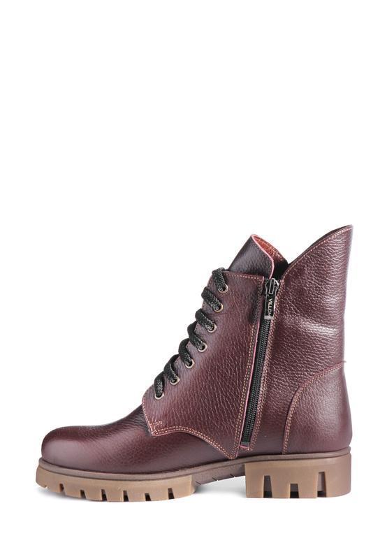 Зимние кожаные женские бордовые ботинки на шнурках с молнией н...