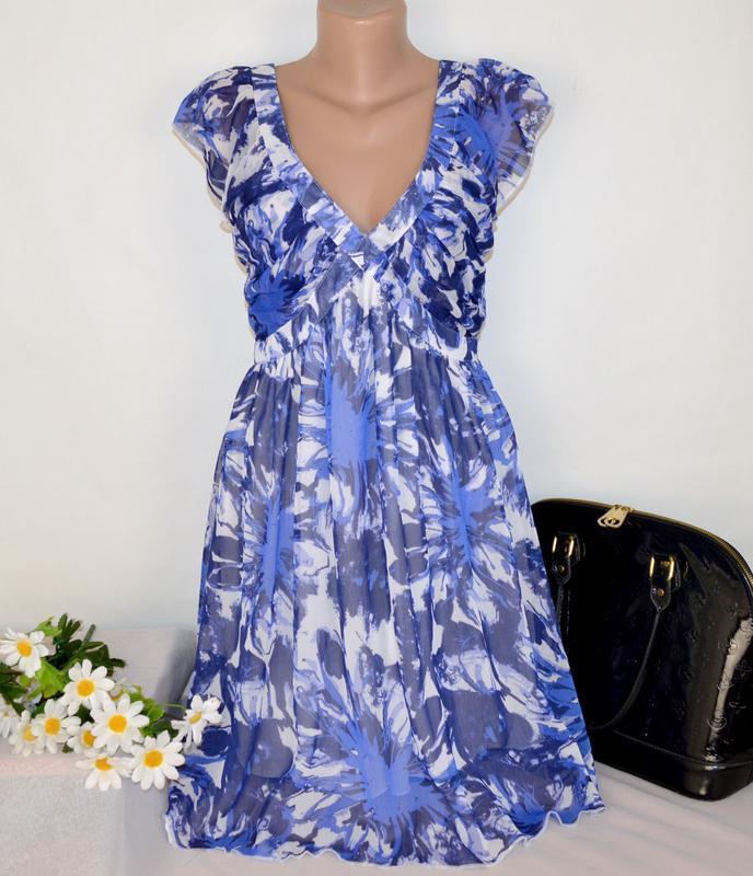 Брендовое шифоновое нарядное миди платье ichi принт цветы
