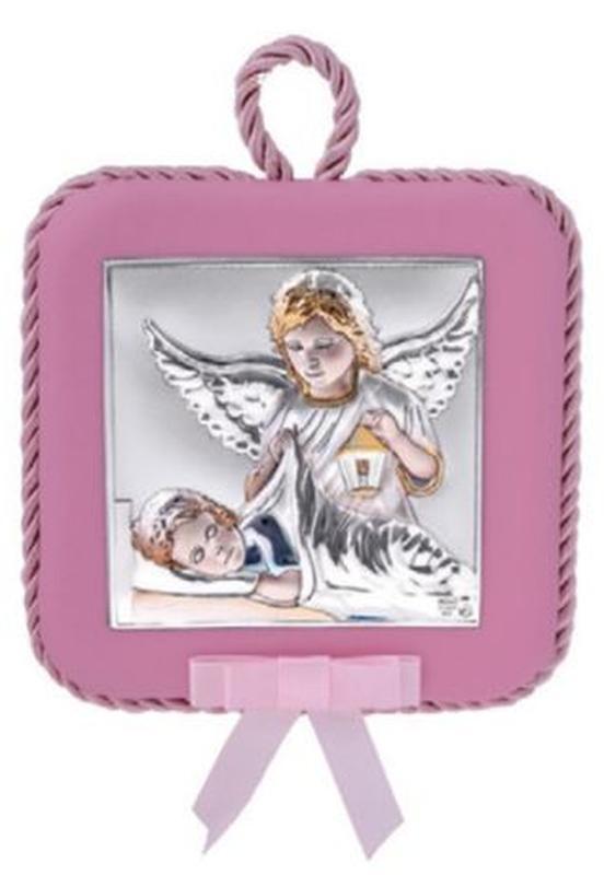 Ангел Хранитель. Серебряная Иконка в подарок для девочки. 11х11см