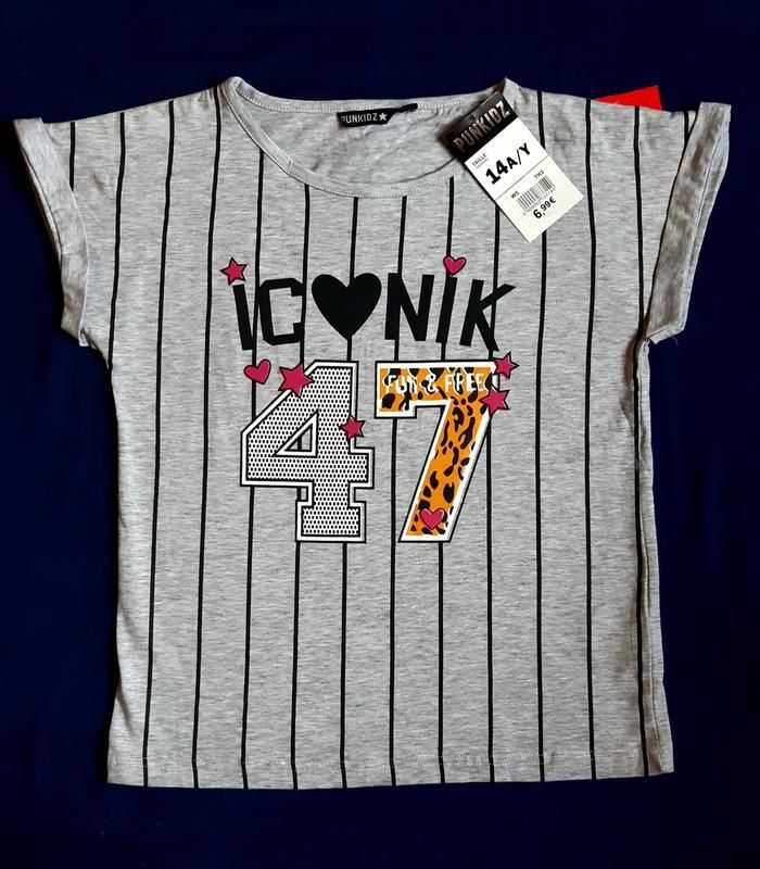 Серая в полоску футболка сердечки и звезды punkidz франция на ...