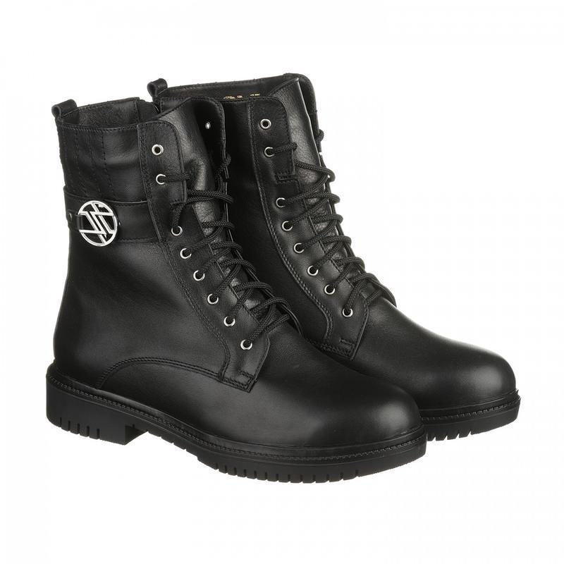 Кожаные женские зимние черные ботинки низкий каблук натуральна...