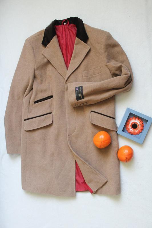 Новое шерстяное пальто прямого кроя, размер xl