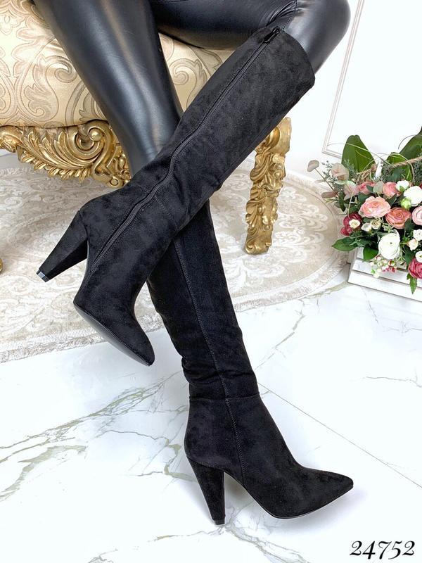 Демисезонные замшевые сапоги,замшевые сапоги на каблуке чёрног...