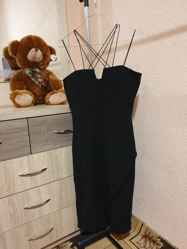 Облегающее черное платье  new look размер uk14/42/10 (m)