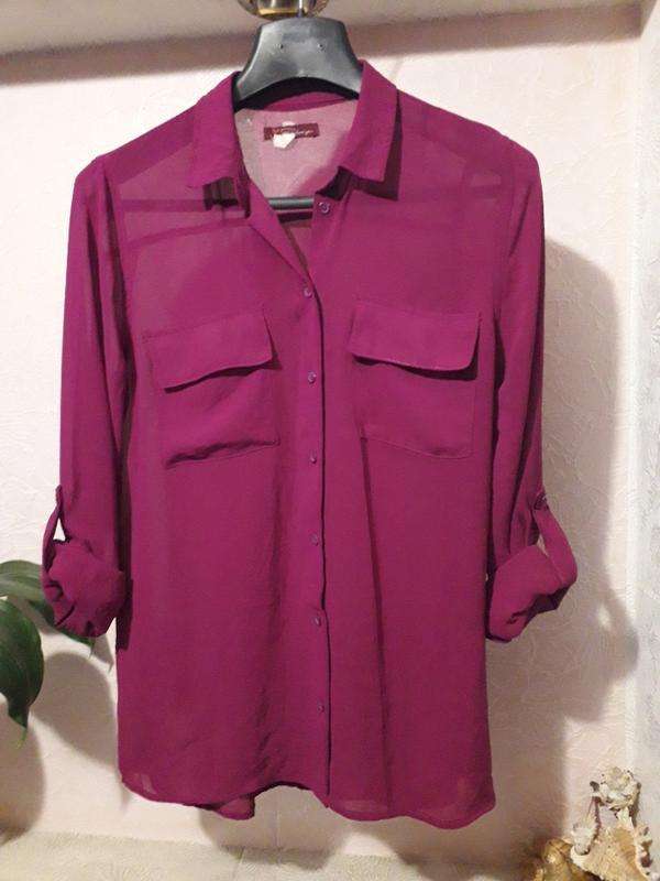 Bershka женская блуза рубашка марсала карманы на груди с рукав...