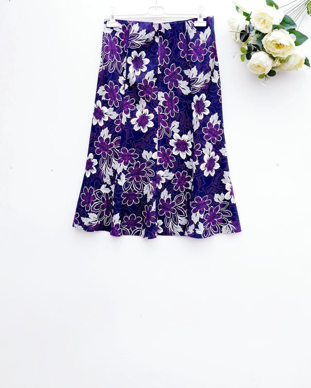 Красивая юбка миди на резинке натуральная юбка за колено