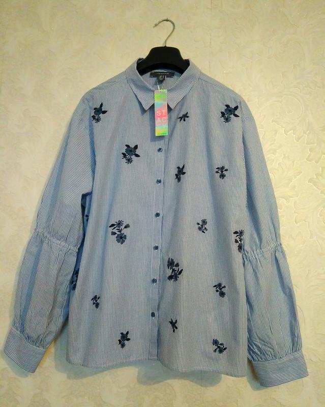 Стильная принтовая рубашка блуза полоска цветы бренда primark,...